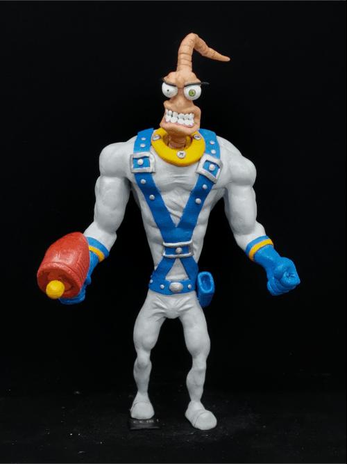 Earth Worm Jim Figur_Erstellt aus Polymer Clay und mit Acrylfarben bemalt